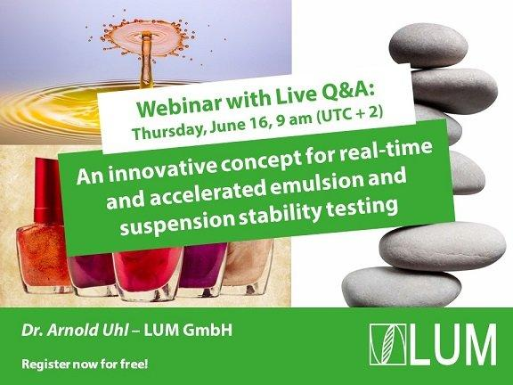 Webinar: An innovative concept for real-time and accelerated emulsion and suspension stability testi (Webinar   Online)
