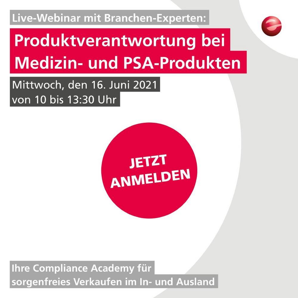 Produktverantwortung bei Medizin & PSA Produkten (Expertenrunde) (Webinar | Online)